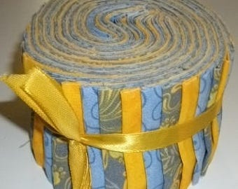 BLUES AND YELLOWS Premium Quilting Cottons Jelly Roll Coordinated Prints