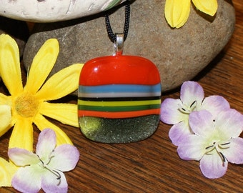 Handmade Pendant - Fused Glass Jewelry - Glass Necklace - Multicolored