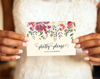 Will You Be My Bridesmaid Cards, Funny Pretty Please Bridesmaid, Cute Card to Ask Bridesmaid, Boho Will You Be My, Wreath Will You Be My