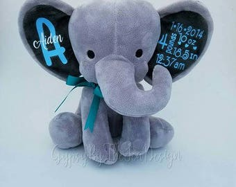 Personalized birth stat elephants: includes name, dob, time, weight, and length.