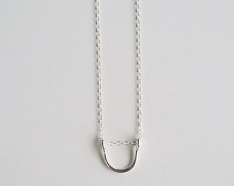 Sterling Silver Small Arch Necklace, Delicate Layering Minimalist Jewelry