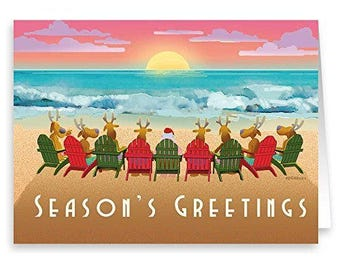 Beach Sunset Christmas Card 18 Cards & Envelopes - Beach Christmas Cards - 30058