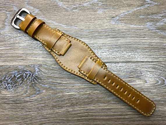 Horween Shell Cordovan cuff strap | Leather Cuff watch band | Leather Cuff watch Strap for new Rolex Deepsea or watch in 21mm lug width