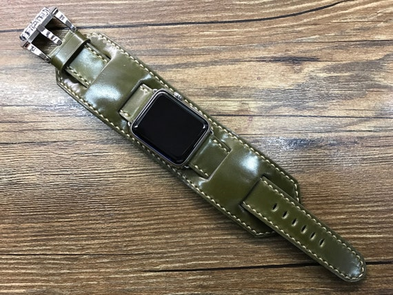 Apple Watch cuff Band, Apple Watch cuff Strap, Horween Shell Cordovan leather Handmade watch band For Apple Watch 38mm, 42mm - Series 1 & 2