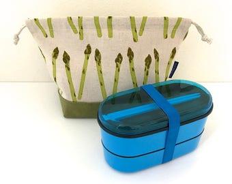 SUMMER SALE! Asparagus bento bag / bento bag / drawstring bag / snack bag /linen bag / cosmetic bag