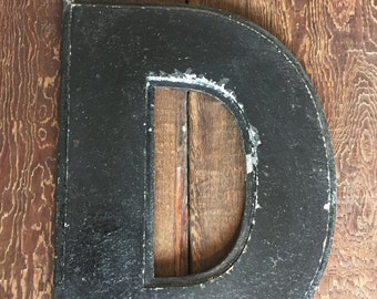 "Large Salvage Letter ""D"" from a Vintage Industrial Sign"