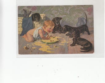 Antique Dachshund Dog Postcard Young Child Attacking Dogs Bowl Of Milk Dogs Look On, Paint Like Texture
