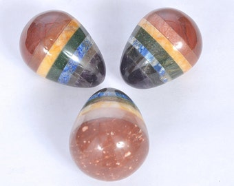 Gemstone 7-Chakra Bonded Egg With Black Pouch (with lapis) with Free Shipping