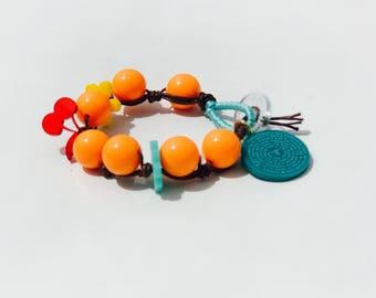 Acrylic Bracelet. Handmade Bracelet. Orange Bracelet. Father our acrylic. Acrylic bracelet with Prayer of our father.