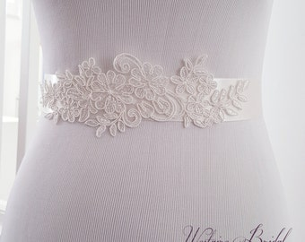 Wedding Belt, Bridal Belt, Ivory Sash Belt, Vintage Sash belt, Bridal Accessories, Bridal Sash Belt