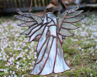 Ethereal Stained Glass Angel, stained glass, home decor, garden decor, wall art, wall hanging, angels, religious,decor, spiritual,suncatcher