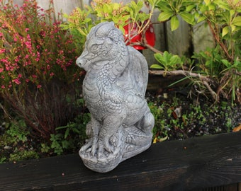 Mythical Fairy Tale Castle Dragon, Stone Garden Ornament, Cornwall Stoneware, Gift Idea, Garden Inspriation, Outdoor living