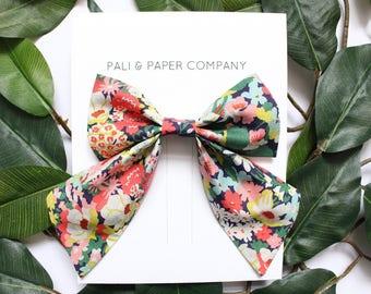 """The """"Lakshmi"""" Sailor Bow / Liberty of London Bow / Handmade Sailor Bow / Floral Fabric Hair Bow on an Alligator Clip / Tana Lawn"""