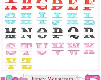 Split Monogram applique,Split letters applique,Split Letters design,Alphabet,Fonts design,Monogram design,26 Letters,Split Letters.-1601