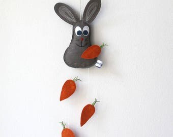 Bunny baby mobiles, Bunny mobile, baby crib mobile, work, nursery décor