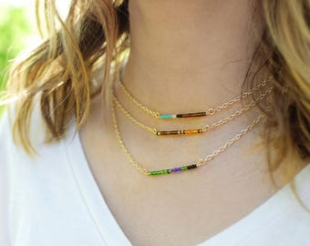 Custom Bird Beaded Bar Necklace