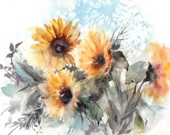 Sunflowers Art Print, Watercolor Print, Watercolor Painting of Sunflowers, Floral Painting, Modern Art