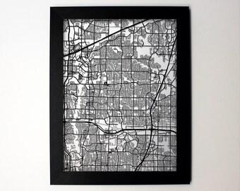 Plano Texas Laser Cut Map, Plano TX Street Map, Map of Plano, Plano Framed Map Art, Wall Art, Wedding, Plano Decor, Plano Gift, Plano Print