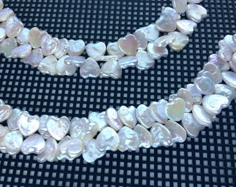 """Full 16"""" Strand Top Drilled Freshwater 12 x 12mm Heart Drop Pearls"""
