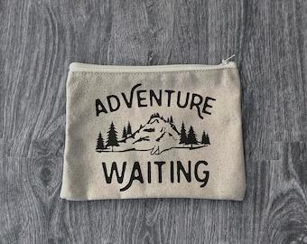 Adventure is Waiting - Zipper Pouch  - Wanderlust - 12oz Cotton Canvas Accessory Bag