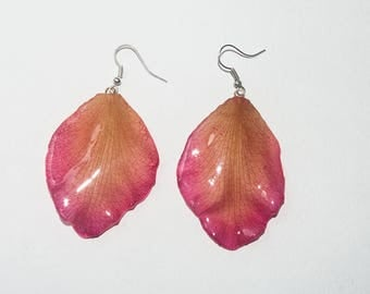 Real orchid petal dangling earrings