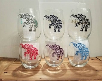 Elephant Wine Glass, Elephant Stemless Wine Glass, Custom Wine Glass, Wine Glass, Birthday Gift, Custom Birthday Glass