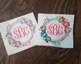 Lily Pulitzer Inspired Monogram Decal, Lilly Print Monogram Decal, Hawaiian Monogram Decal, Luau Car Decal, Yeti decal,Hibiscus Flower Decal