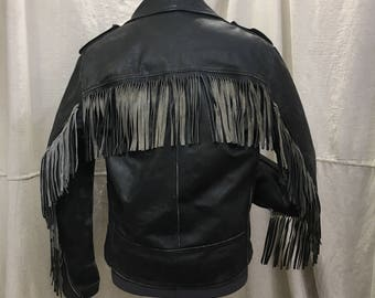 70s Leather Motorcycle Jacket Distressed, Vintage Black 1970s Sears Leather Shop Jacket Size 42