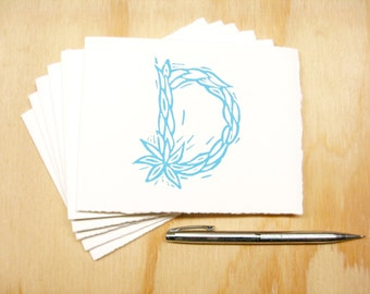 Letter D Stationery - Set of 6 Block Printed Cards - Choose Your Color - Personalized Gift - MADE TO ORDER