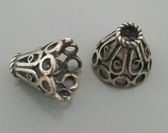 Sterling Silver Snowflake Filligree Flower Bead Cone Cap - 2 Pieces