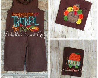 Thanksgiving Outfit, Fall Outfit, Everyone is Thankful for Me, Jon Jon, Boys, shortall, Toddler, Romper, Turkey, Pumpkin Cart, Personalized
