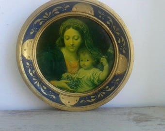 Charming French vintage print in round frame, Vierge au Raisins, Pierre Mignard, Louvre Paris.