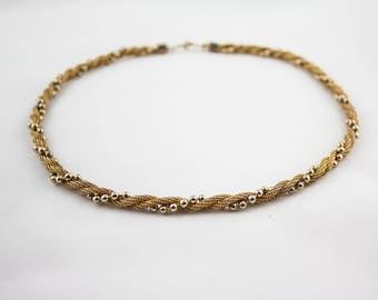Vintage AVON Signed Gold Tone Necklace Mesh Multi Chain Beaded Choker Costume Jewelry