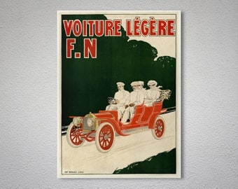 Voiture Legere F.N. - Vintage Car Poster - Poster Print, Sticker or Canvas Print