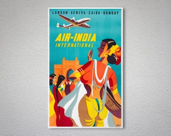 Air India International Vintage Travel Poster  - Poster Print, Sticker or Canvas Print