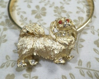 Beautiful Vintage Gold Tone Dog Brooch With Rhinestones  DL#9631