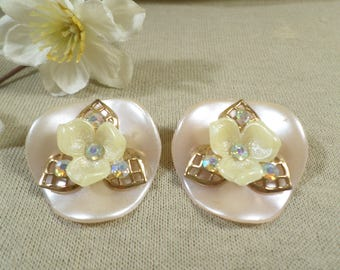 Beautiful Vintage Gold Tone Pair Of Lucite Flower With Filigree Petals And AB Rhinestone Clip On Earrings  DL# 3070