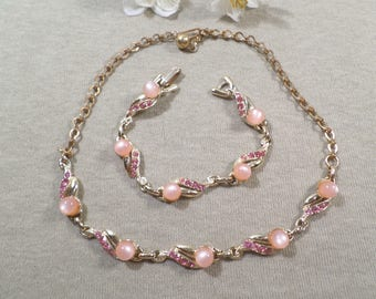 Beautiful Vintage Gold Tone Pink Moon Glow and Rhinestone Demi Parure, Choker Necklace and Bracelet  DL# 2548