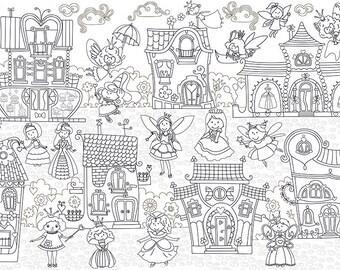 """Coloring poster """"Wonderland"""" size 60*100 cm"""