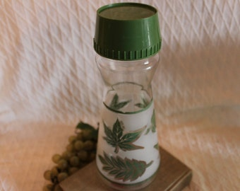 Mid Century Admiral Glass Juice Carafe with Green Leaves and Lid and Frosted Glass