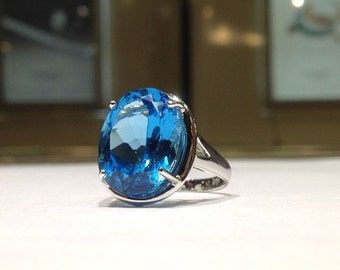 12.00 Carat Natural Blue Topaz Ring in 925 Sterling Silver with 14K White Gold Finish
