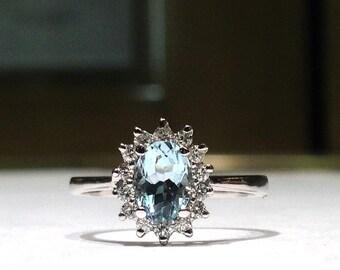 1.50 Carat Genuine Aquamarine & Diamond  Ring in 10K White Gold