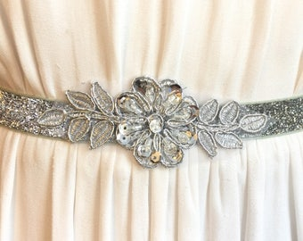 Silver Sparkly Elastic Bridal Belt with Applique