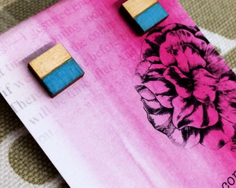 Hand painted blue wooden square earring studs