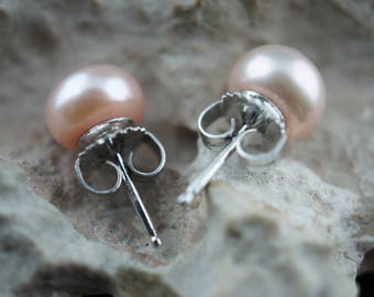 Bolt Stud Earrings 925 Sterling silver  with beige natural Pearl  Freshwater mother Fashion Earrings Adult Child baby 1/4'' bb62