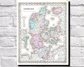 Vintage Map of Denmark, Danish wall map 1855 Colton Map of Delaware, Map Wall Art Decor, 9513
