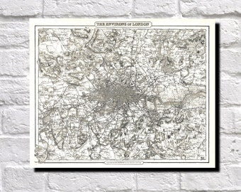 Vintage Map of London 1855 Colton Map of London, Map Wall Art Decor, 9539