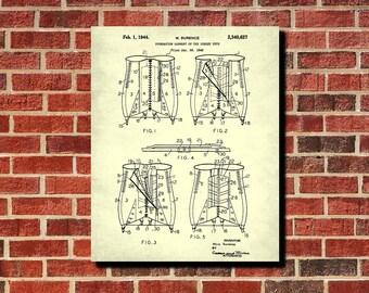 Corset Patent Print, Vintage Lingerie Blueprint, Clothing Wall Art, Dressing Room Decor, Fashion poster