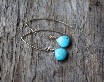 Turquoise Stone Teardrop Gold Filled Marquise Earrings