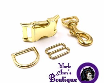 Upgrade to Brass Hardware on an Adjustable Collar, Leash, or Set from Marlo Ann's Boutique